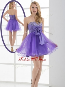 2016 Beautiful Sweetheart Eggplant Purple Short Prom Dresses with Beading