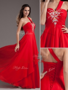 2016 Cheap Empire One Shoulder Red Dama Dress with Beading