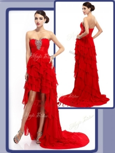 2016 Cheap High Low Beading and Ruffled Layers Evening Dresses in Red