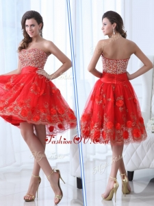 2016 Gorgeous Sweetheart Red Prom Dress with Beading and Appliques