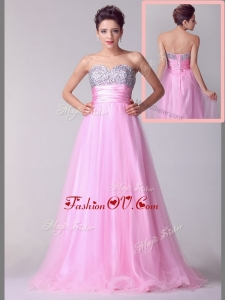 2016 Lovely A Line Brush Train Rose Pink Evening Dresses with Beading for Spring