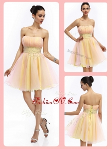 2016 Lovely Short Strapless Lace Up Prom Dresses with Beading and Ruching
