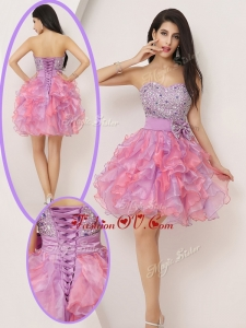 2016 Lovely Short Sweetheart Beading and Bowknot Prom Gowns