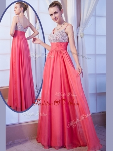 2016 Simple Empire Straps Side Zipper Beading Prom Dress for Evening