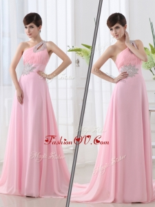 2016 Fashionable One Shoulder Brush Train Beading Baby Pink Evening Dress