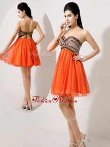 2016 Low Price Short Orange Red Evening Dresses with Beading and Sequins