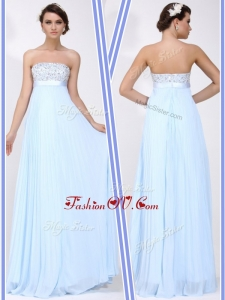 2016 Beautiful Strapless Beading Long Homecoming Dress in Light Blue