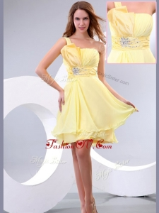 2016 Lovely Short One Shoulder Beading and Belt Homecoming Dress