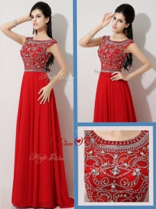 2016 Most Popular Empire Bateau Brush Train Prom Dresses with Beading for Fall