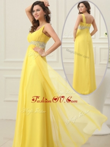 2016 Most Popular Empire One Shoulder Beading Prom Dress in Yellow