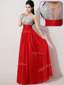 2016 Most Popular Empire Scoop Side Zipper Prom Dresses in Red