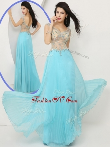 2016 Most Popular Empire Straps Prom Dresses with Beading