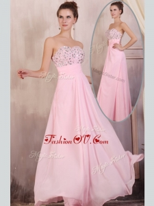 2016 Most Popular Empire Sweetheart Beading Baby Pink Prom Dress