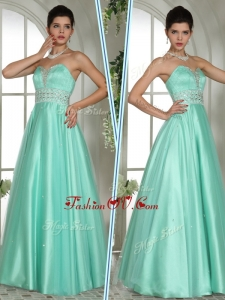 2016 Most Popular A Line Sweetheart Beading Prom Dresses in Apple Green