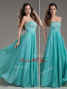 2016 Most Popular Empire Strapless Turquoise Long Prom Dress