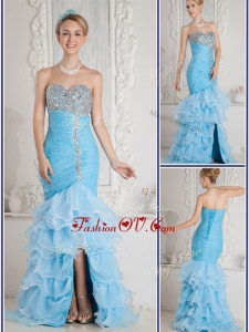 2016 Most Popular Mermaid Sweetheart Beading and Ruffled Layers Aqua Blue Prom Dresses