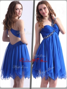 2016 Most Popular One Shoulder Blue Short Prom Dresses with Beading