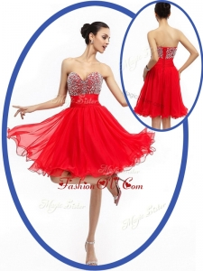 2016 Most Popular Sweetheart Red Short Prom Dresses with Beading