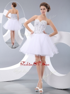 2016 Most Popular White Short Prom Dresses with Beading for Cocktail