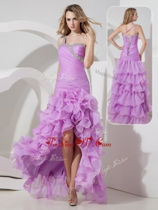 2016 Unique Column High Low Prom Dress with Ruffled Layers