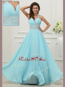 2016 Unique Halter Top Prom Dress with Beading and Paillette