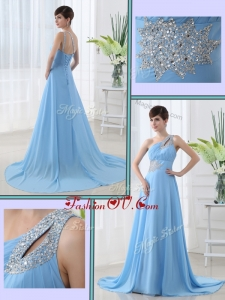 2016 Unique One Shoulder Brush Train Beading Prom Dress with Lace Up