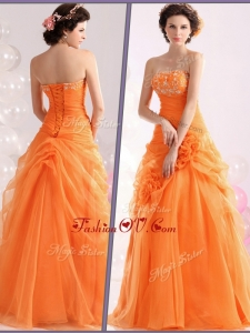 2016 Unique Strapless Beading Prom Dresses with Hand Made Flowers