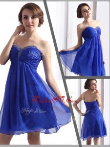 2016 Unique Sweetheart Beading Short Prom Dresses in Blue