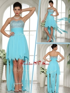 2016 Unique Sweetheart High Low Beading and Paillette Prom Dress in Aqua Blue
