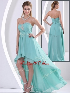 2016 Unique Sweetheart High Low Prom Dress with Beading