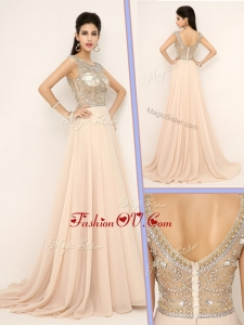 2016 Vintage Empire Bateau Brush Train Prom Dresses with Beading