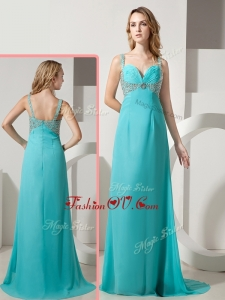 2016 Vintage Empire Straps Beading Turquoise Prom Dresses with Brush Train
