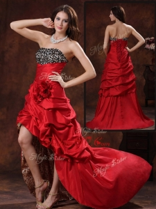 2016 Vintage High Low Strapless Prom Dress With Hand Made Flowers