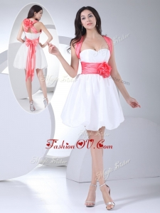 2016 Vintage Straps Hand Made Flowers Short Prom Dress in White