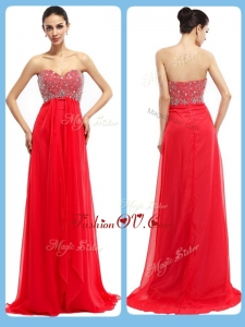 2016 Vintage Sweetheart Brush Train Beading Prom Dresses in Red