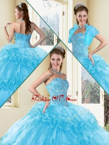 2016 Sweet Ball Gown Sweet 16 Dresses with Beading and Ruffled Layers in Aqua Blue