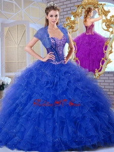 2016 Discount Sweetheart Blue Quinceanera Dresses with Ruffles and Appliques