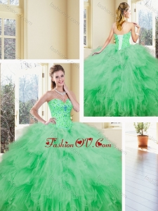 2016 Luxurious Sweetheart Beading and Ruffles Quinceanera Dresses