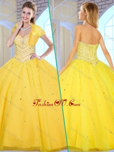 2016 Modest Ball Gown Yellow Sweet 16 Gowns with Beading