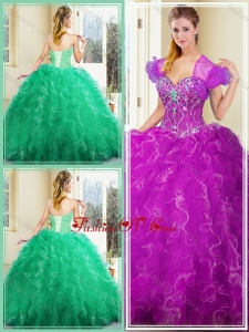 2016 Pretty Ball Gown Quinceanera Dresses with Ruffles for Fall