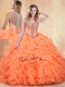 2016 Beautiful Straps Orange Red Sweet 16 Dresses with Ruffles and Appliques