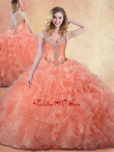 2016 Best Straps Ball Gown Quinceanera Dresses with Ruffles and Appliques