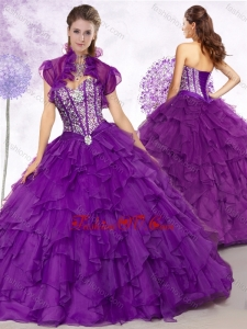 2016 Cheap Ball Gown Purple Quinceanera Gowns with Beading and Ruffles