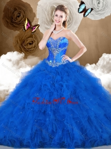 2016 Cheap Ball Gown Sweetheart Beading and Ruffles Quinceanera Dresses