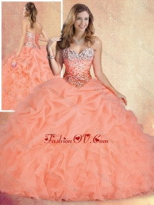 2016 Popular Brush Train Sweet 16 Gowns with Ruffles and Bubles