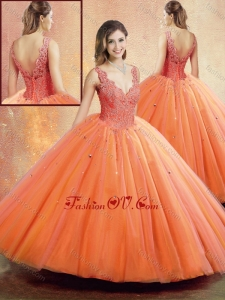 Beautiful Straps Orange Sweet 16 Dresses with Beading and Appliques