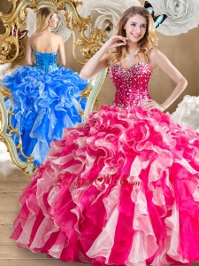Discount Beading and Ruffles Sweet 16 Dresses in Multi Color