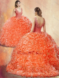 New Style V Neck Brush Train Quinceanera Dresses with Appliques