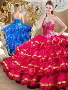 Perfect Red Sweet 16 Dresses with Beading and Ruffled Layers