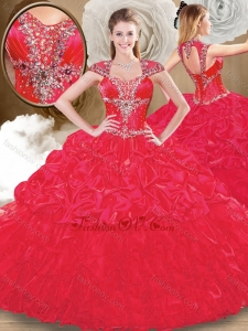 Perfect Sweetheart Red Quinceanera Dresses with Beading and Pick Ups